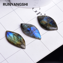 1PC Top Natural Labradorite Crystal Moonstone Rough Polished  Pendant Collectables Colorful Shine Stone Decor