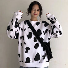 Kawaii Japanese Autumn Female Loose Long Sleeve Hoodies Sweatshirts Cow Milk Printed Hoodie Fashion Women Casual Sweatshirt