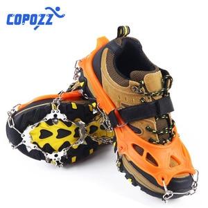 Image 4 - COPOZZ Outdoor Climbing Anti slip Crampons Winter Walk 19 Teeth Ice Fishing Snowshoes Hiking Skiing Steel Slip Shoe Covers