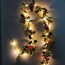 1pcs Led Light Strings 2m10leds Christmas Red Holly Berry Lights String Birthday Wedding Banquet Home Garden Decoration Battery