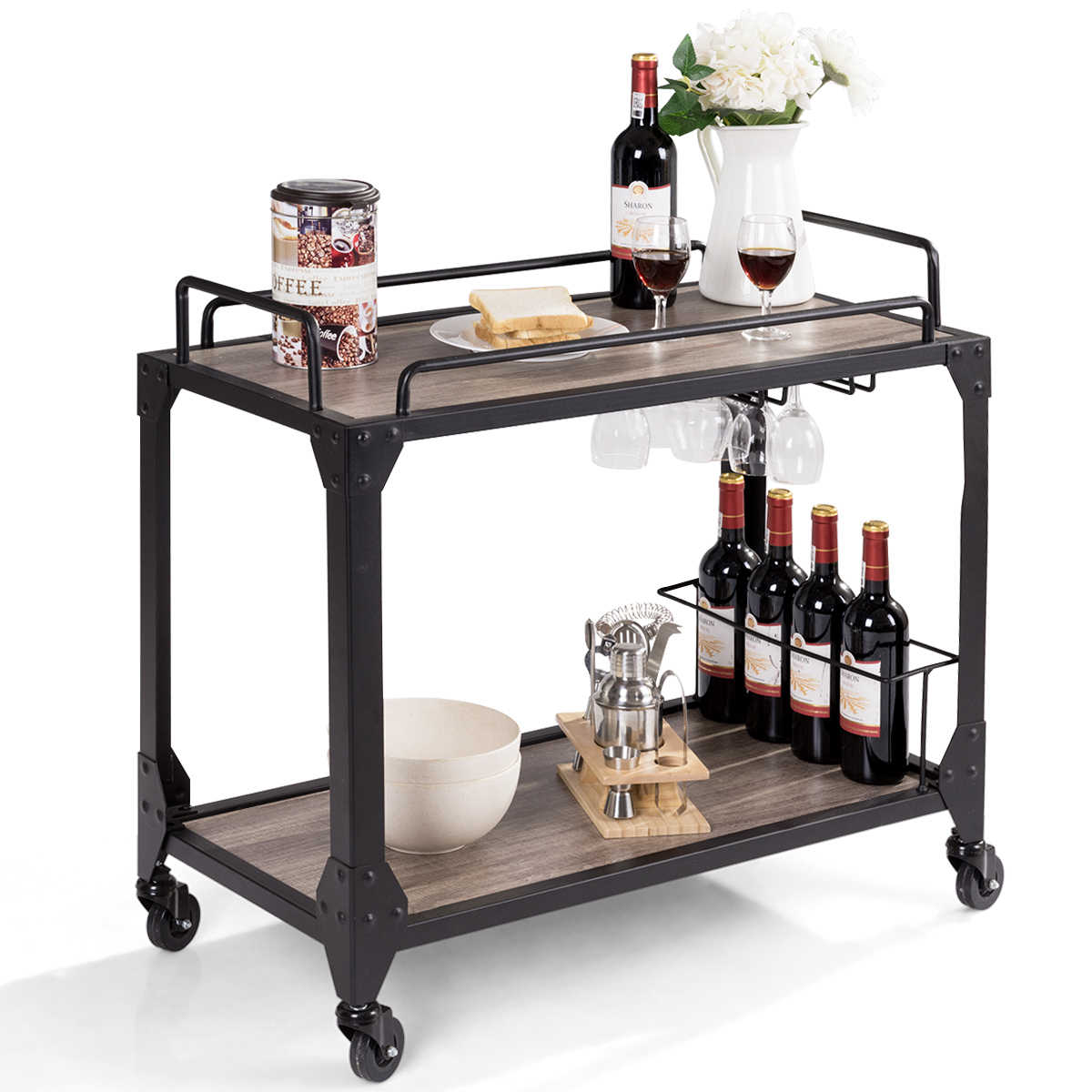 Costway 2 Tier Rolling Bar Serving Cart