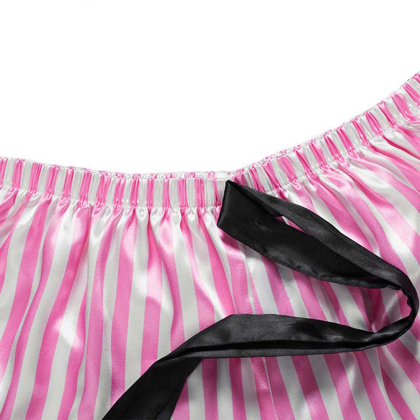 2020 란제리 섹시한 여성 스트라이프 새틴 실크 레이스 슬리퍼 레이스 꽃 V 넥 민소매 탑스 + Nightwear 반바지 여성 잠옷 세트
