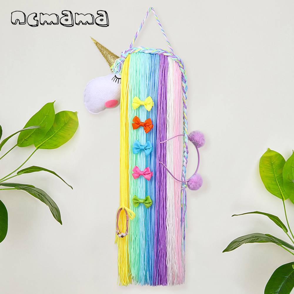 1 Set Unicorn Hair Bows Storage Belt For Girls Hair Clips Barrette Hairband Hanging Organizer Strip Holder For Hair Accessories