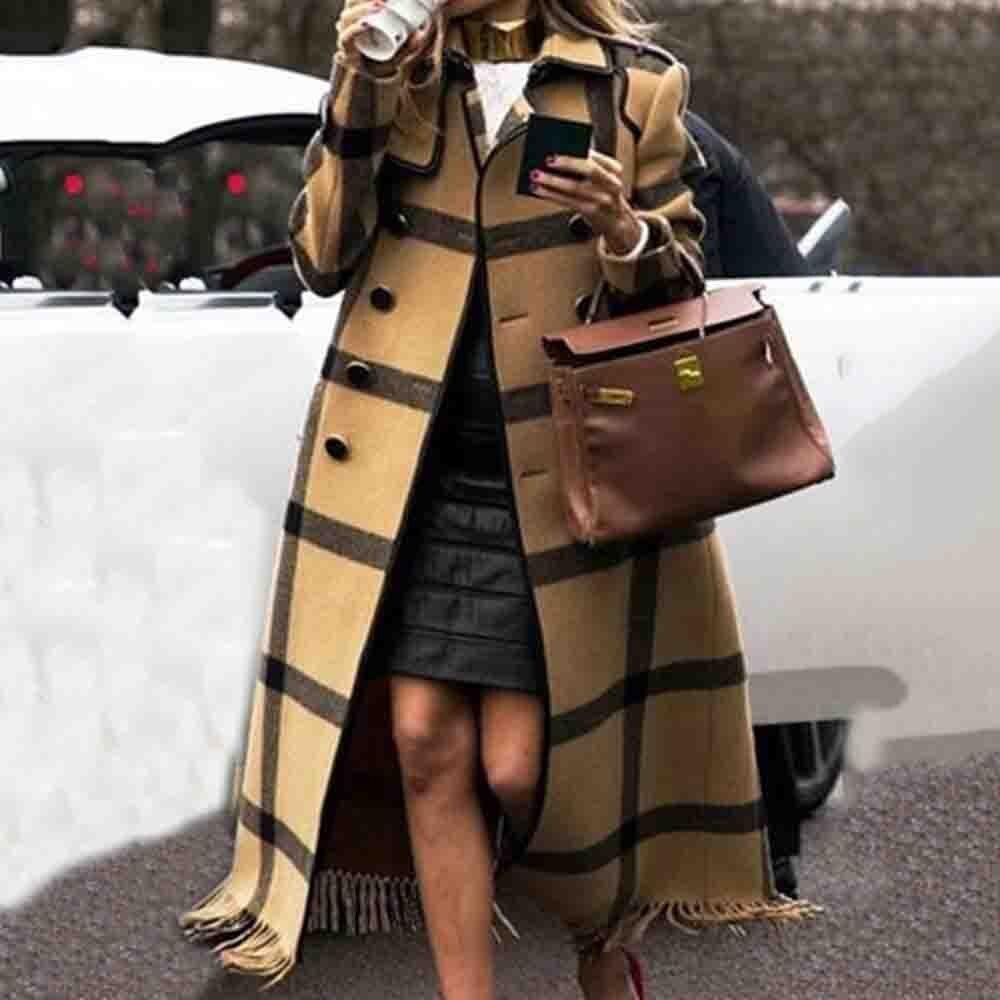 Women Autumn Fall Long Coats Plaid 2020 Vintage Tassel Overcoat Trench Coats Casual Streetwear Plus Size Office Ladies Outwear|Wool & Blends| - AliExpress