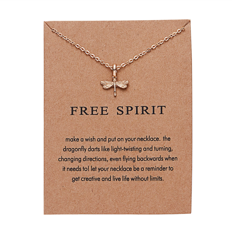 Ailodo Fashion Necklace Women With Wish Card Gold Color Dragonfly Pendant Make a Jewelry Birthday Gift LD242
