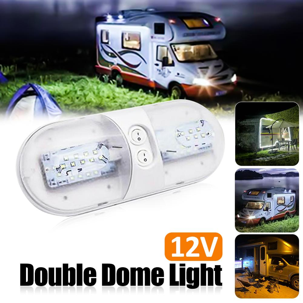 Double Dome Light 12V 48 LED Interior Roof Ceiling Reading For RV Boat Campers Trailer Caravan Motorhomes Marine ABS 1PC White