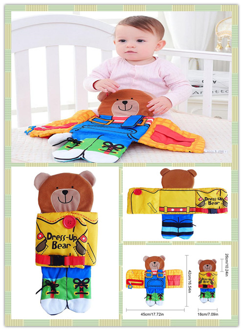 Bear Wear Cloth Button Zipper Cloth Education Book Books Book Infant Early Cloth Baby Fabric Soft Book Learning&Education