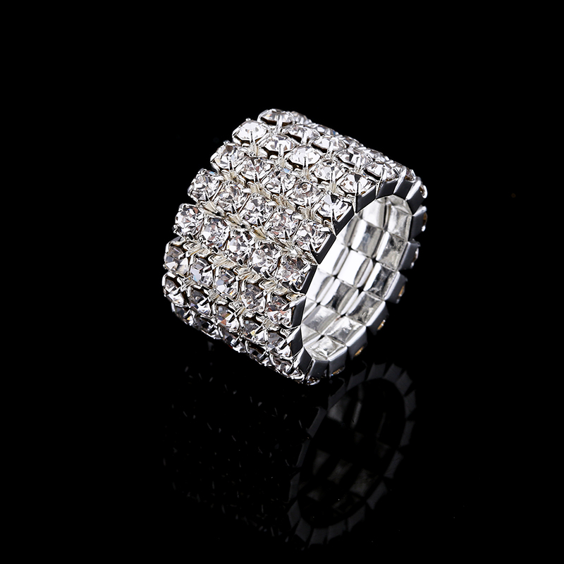 2017 Hot Sale Top Fashion Channel Setting Party Classic Jewelry Anillos Stunning Multi Row Diamante Stretch Rings For Women 5