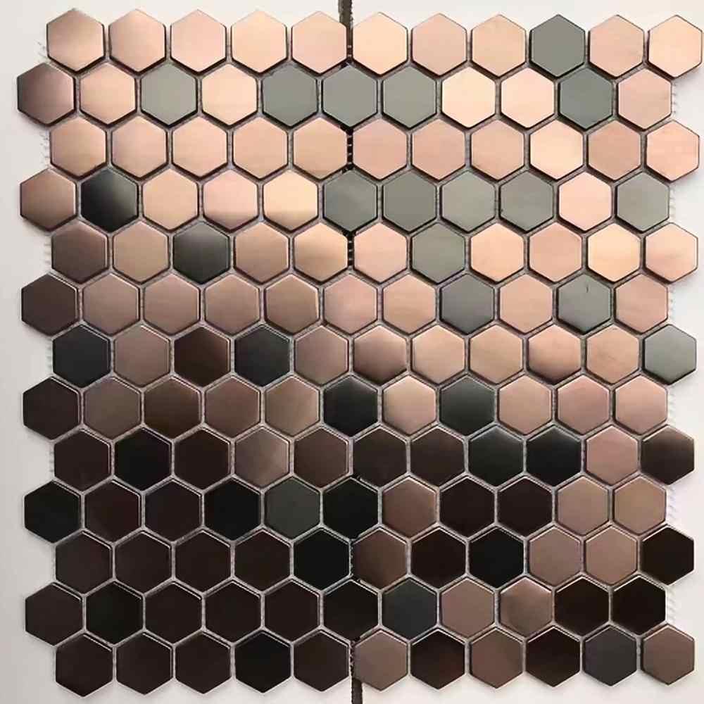 Carrelage Mosaique Hexagonale En Acier Inoxydable Brosse Couleur Bronze Cuivre Noir Carrelage Mural Pour Salle De Bain Et Douche Aliexpress