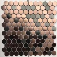 Hexagon Stainless Steel Brushed Mosaic Tile Bronze Copper Color Black Bathroom Shower wall Tiles