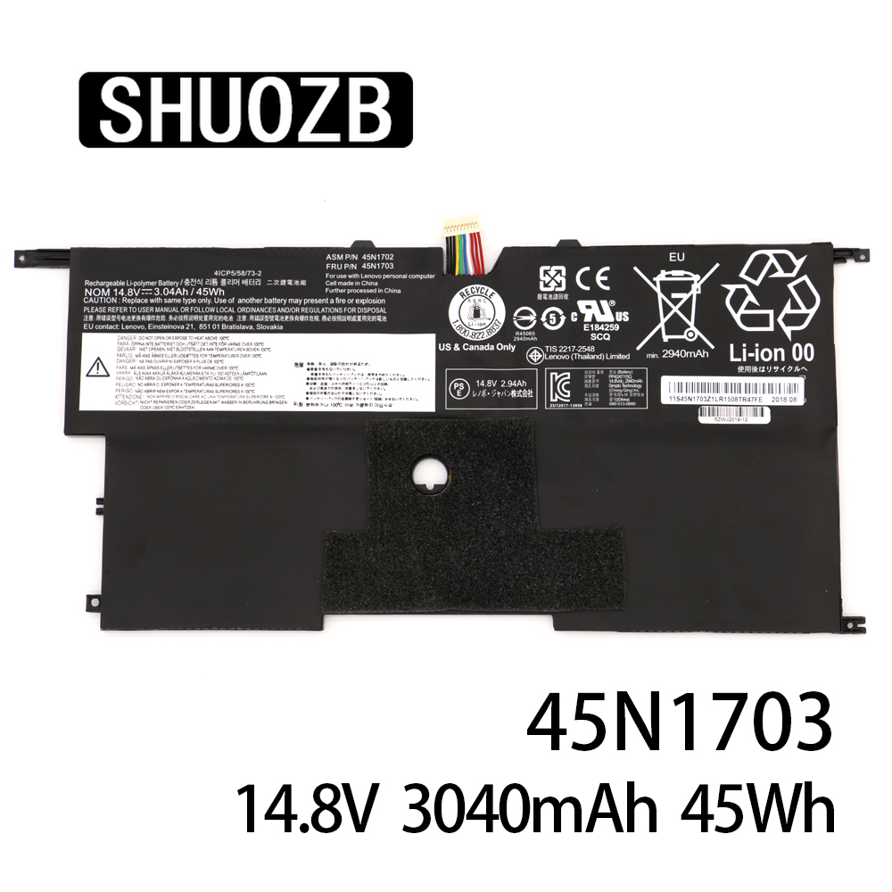 45N1703 45N1700 45N1701 45N1702 X1 Laptop Battery For Lenovo ThinkPad X1 Carbon Gen3 20A7 20A8 4ICP5/58/73-2 14.8V 45Wh SHUOZB