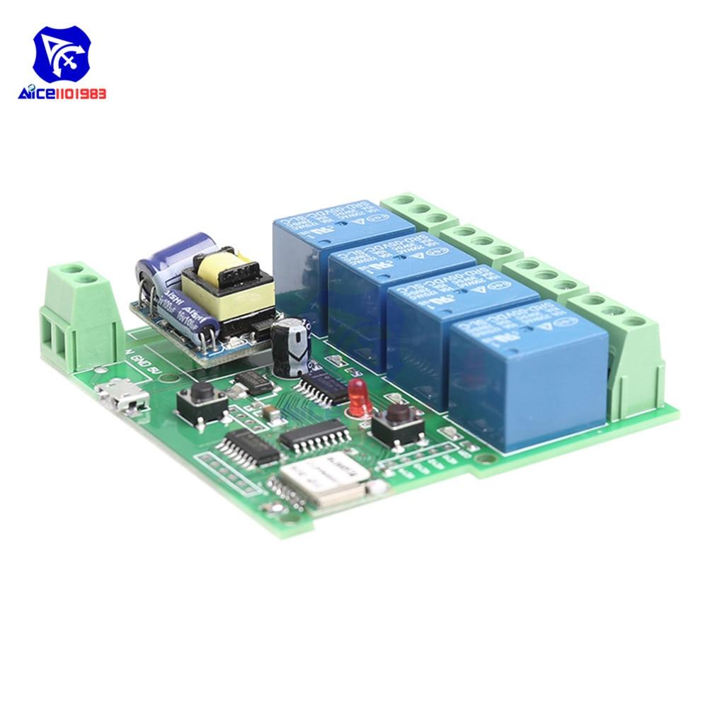 220V 4 Canal Módulo de Relé Wi-fi APLICATIVO de Telefone Interruptor de Controle Remoto Sem Fio WIFI Jog Auto-Bloqueio Bloqueio 433M para Aparelhos Inteligentes