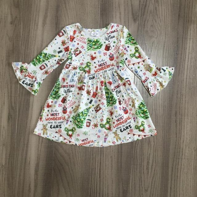Exclusive Girlymax Christmas Tree Girls Children Clothes Baby Deer Winter Long Sleeve Ruffle Gingerbrea Milk Silk Dress Boutique 6