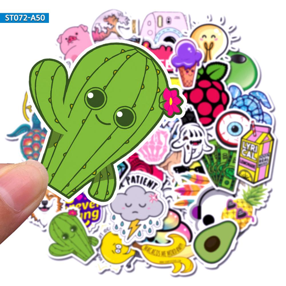 50pcs Mix Colour Cute Fresh Simple Kawaii Fun Anime VSCO Style Stickers For Girls Gift Mobile Phone Laptop Luggage Case Stickers