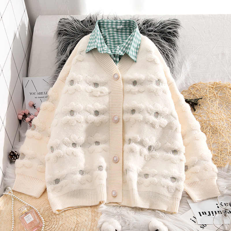 Neploe inverno roupas femininas camisola cardigan 2020 engrossar causal casaco de malha coreano v pescoço flor jaquetas de grandes dimensões blusas