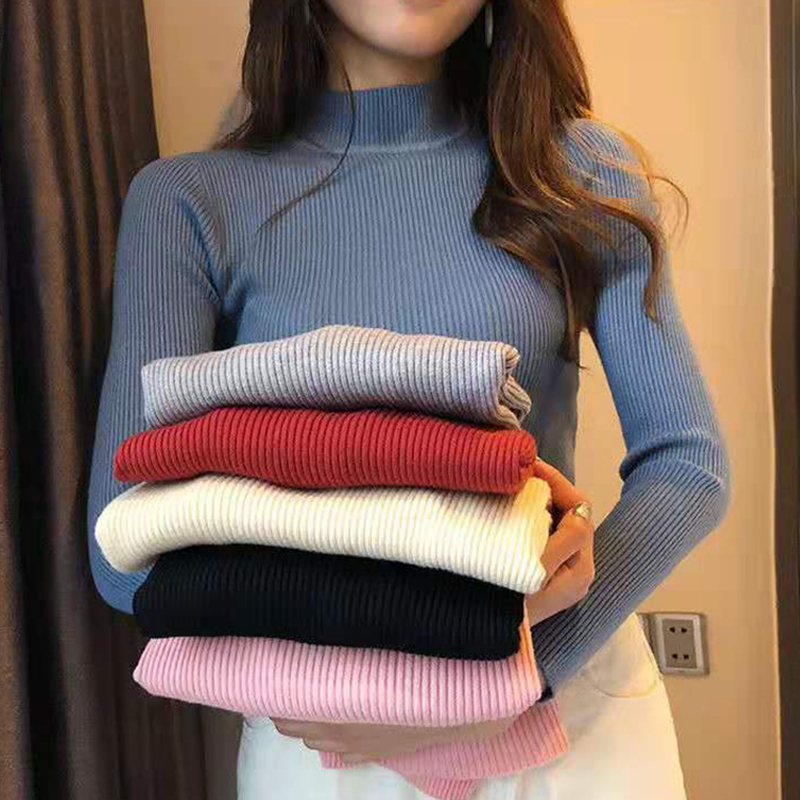Womens Sweaters 2019 Winter Tops Turtleneck Sweater Women Thin Pullover Jumper Knitted Sweater Pull Femme Hiver Truien Dames New