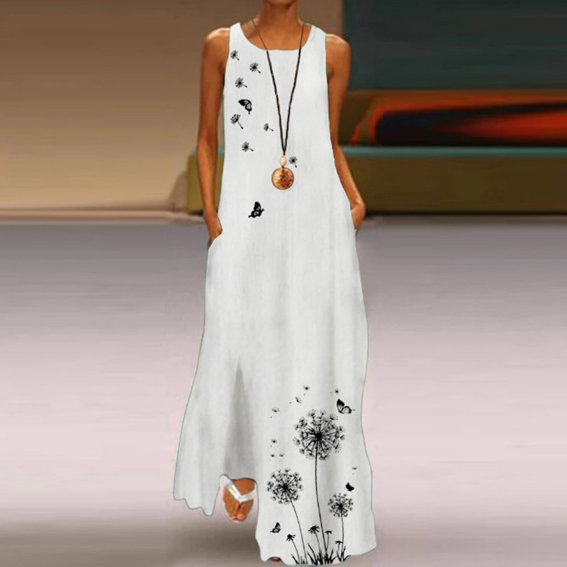Vintage Women's Maxi Dress 2021 Summer Sleeveless Sundress Casual Loose Long Dresses Robe Plus Size 4XL Femme Vestidos