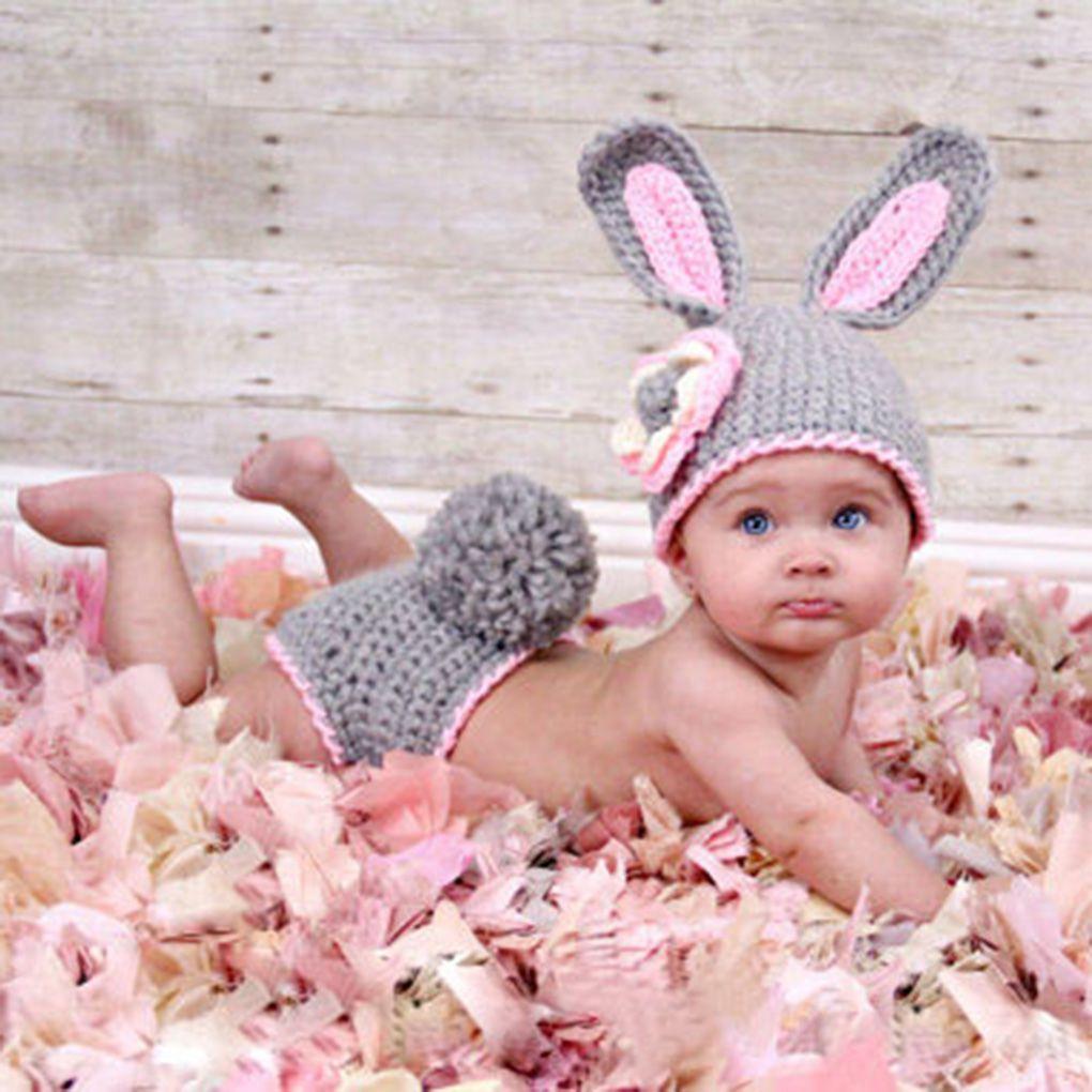 Детская одежда для фотографирования с кроличьими цветами, милые вязаные для новорожденных Костюмы, одежда для фотографирования