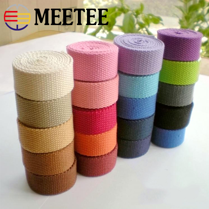 10Yards 2.5cm Width 2mm Thick Polyester-cotton Webbings Canvas Bag Webbing Ribbon Backpack Belt Strapping Bias Binding Tape
