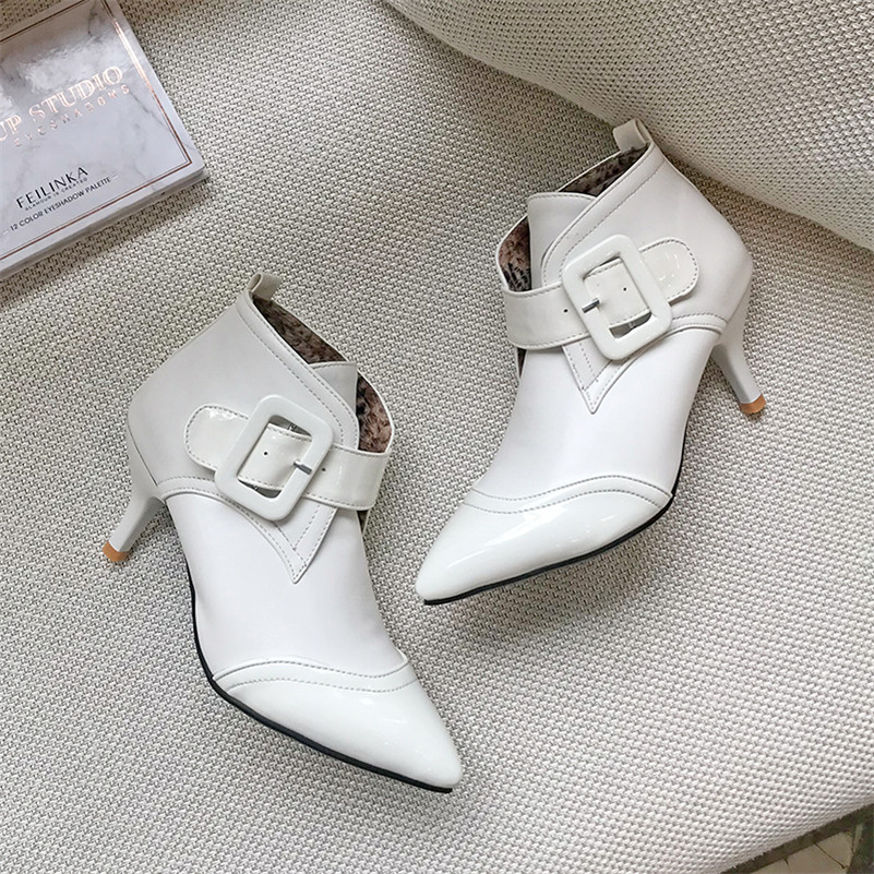 ANNYMOLI Women Boots Autumn Ankle Boots PU Leather Thin High Heels Short Boots Buckle Pointed Toe Shoes Female Winter Size 34-43