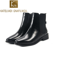 KATELVADI Winter Boots Women 2019 Black Ankle For PU Thick Heel Slip On Ladies Shoes Cheles  K-515