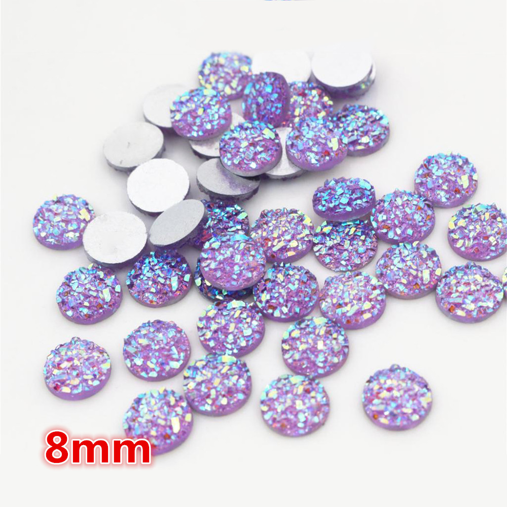 New Fashion 8mm 40pcs Purple AB Colors Natural Ore Style Flat Back Resin Cabochons For Bracelet Earrings Accessories-O5-14
