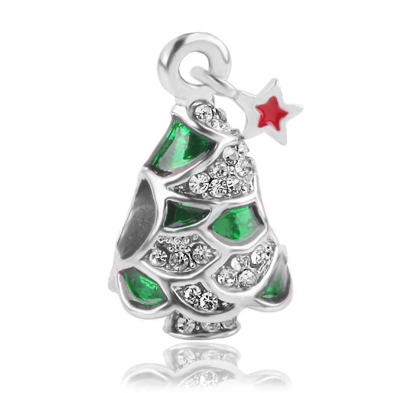 חג המולד מתנת כסף snowflake עץ לוכד חלומות ליצן Diy חרוז תליוני קסם fit מקורי פנדורה קסמי צמיד