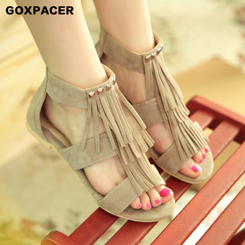 GOXPACER 2019 Summer Single Roman sandals, fringed riveted flat-soled sandals, women's large shoes Women's Sandals Fashion Trend