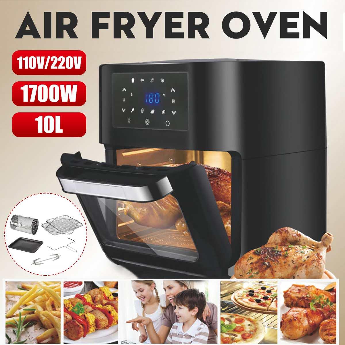 1700W 10L Multifunction Smart Fryer Chicken Oil Free Air Fryer Oven Healthy Food Fryer Cooker Touch LCD Electric Deep Fryer