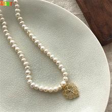 Женское винтажное ожерелье с пресноводным жемчугом на цепочке