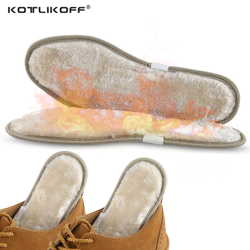 KOTLIKOFF Keep Warm Insoles Heated Cashmere Thermal Insoles Thicken Soft Winter Sport Shoes Insert For Man Woman Boots Pad Sole