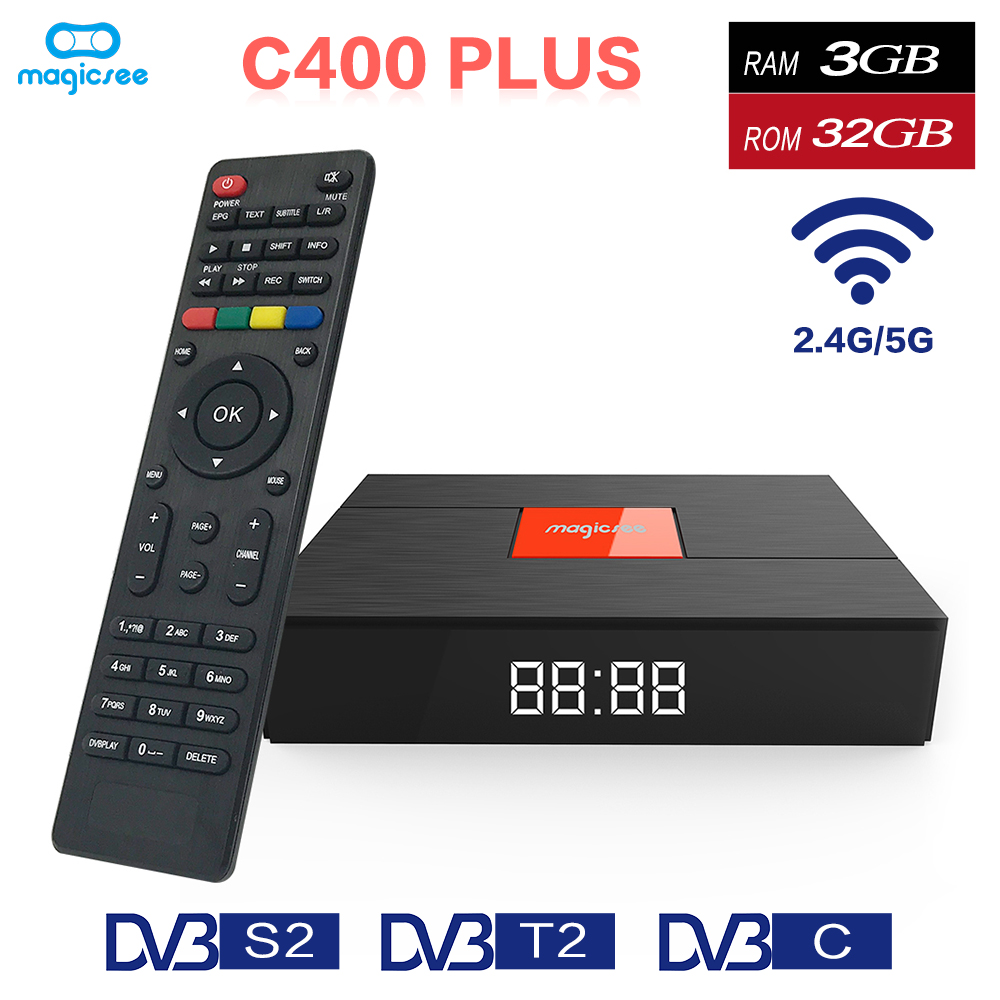 Magicsee C400 Plus Amlogic S912 Octa Core TV Box 3+32GB Android 4K Smart TV Box DVB-S2 DVB-T2 Cable Dual WiFi Smart Media Player