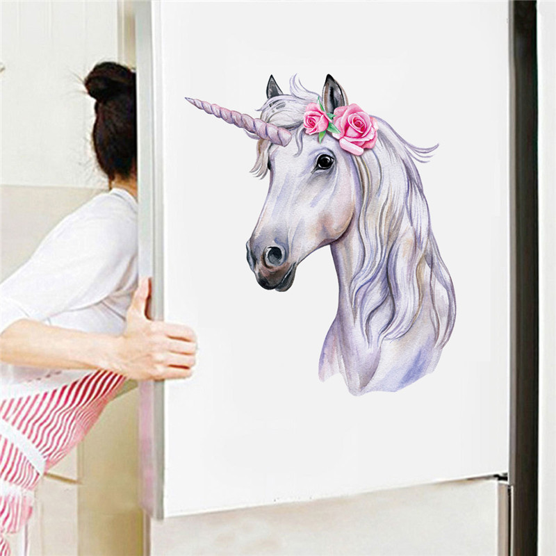 1PC Kitchen Refrigerator Door Decal Beautiful Unicorn Toilet Wall Sticker For Living Room Bedroom Bathroom Home Decor 30*30cm
