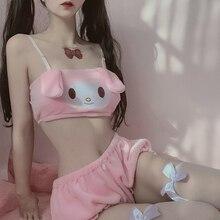Kawaii seksi kadın iç çamaşırı seti Lolita Intimates seti kedi Anime Cosplay tarçın köpek kostümleri uzun kulak köpek tüp üst külot seti