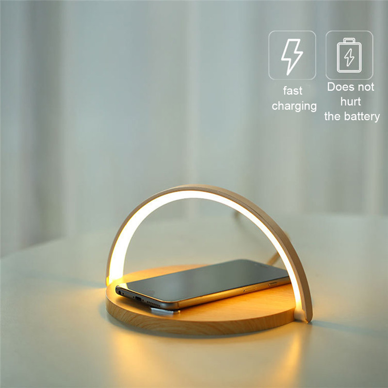 LED Desk Lamp Fast Wireless Charger Adjustable Angle Charging Table Bedside Night Light ALI88