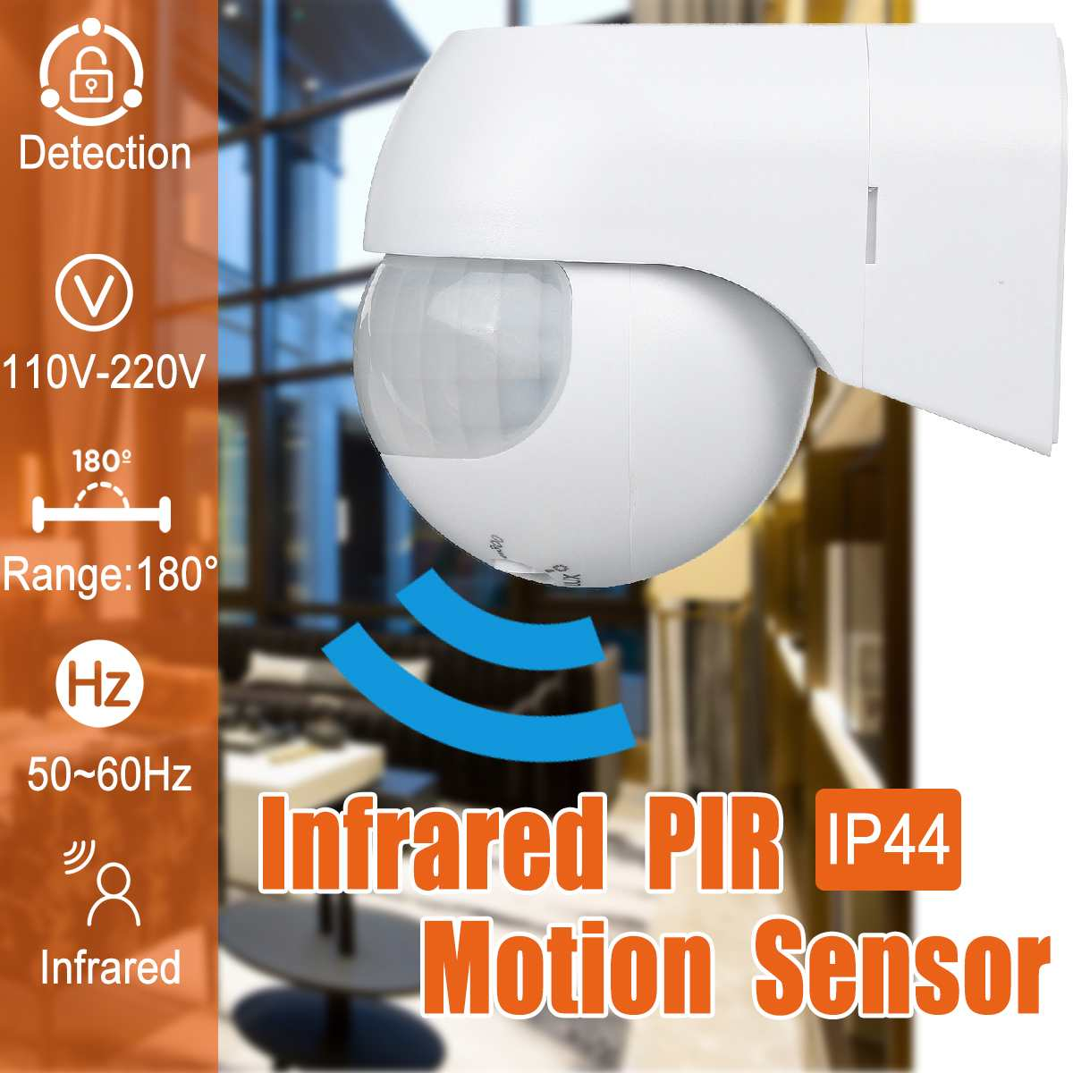 Infrared PIR Motion Sensor 180 Degree Adjustable Wireless Sensitive Alarm Detector 110V-220V Time Delay Home Security Outdoor