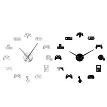 Game Controller Video Diy Giant Wall Clock Game Joysticks Stickers Gamer Wall Art Video Gaming Signs Boy Bedroom Game Room Decor(China)