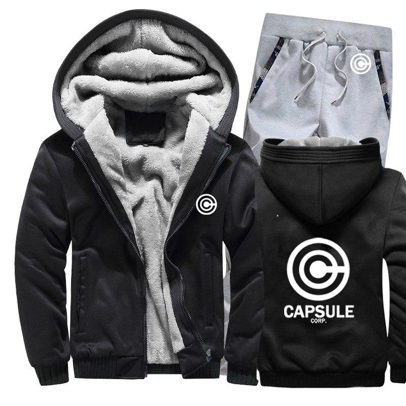 Winter Fleece Thicken Anime Dragon Ball Z Capsule Corp Print Harajuku Hoodies Men Suit Warm Sweatshirts Jacket+Pants 2Pcs Sets
