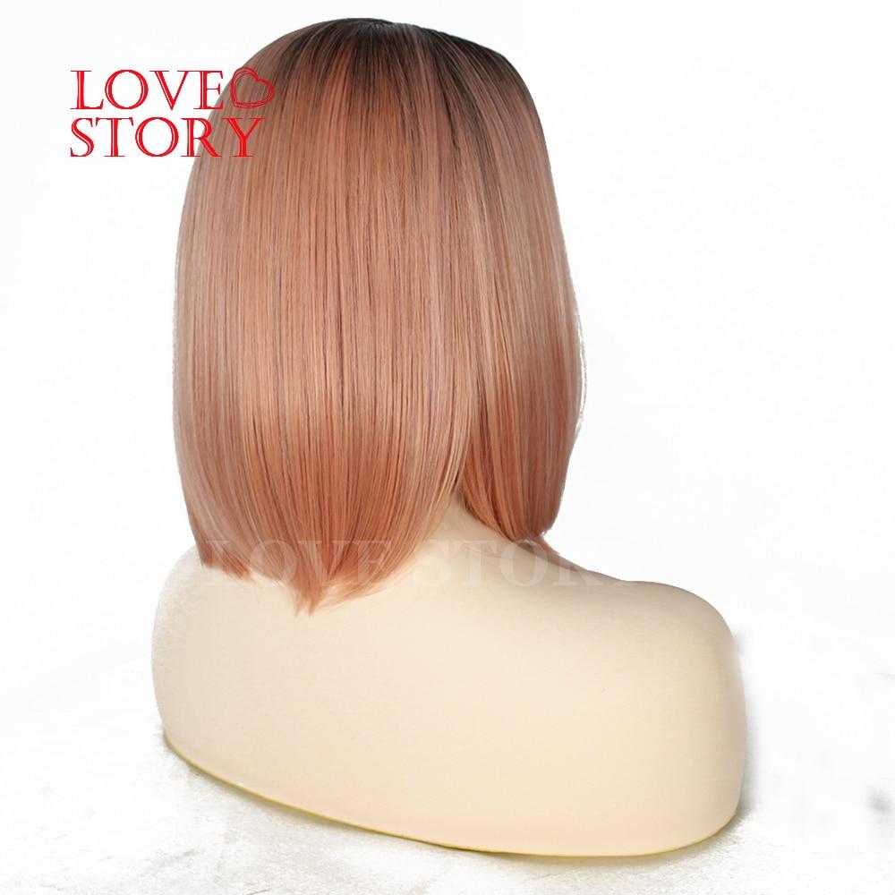 Lovestory cor-de-rosa peruca dianteira do laço sintético