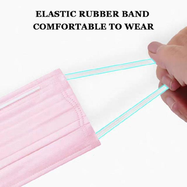 10/50/100 Pcs Pink Disposable Non-woven 3-layer Face Mask Breathable Mask With Elastic Earband Breathable Adult Mouth Mask 2