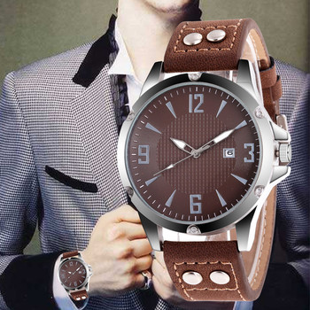 WJ-8907 Top Brand Leather Strap Buckle Watches For Man Business Casual Sport Quartz Wristwatch With Date Luxury Digit Watch luxe