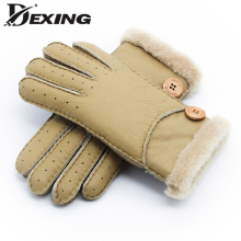Зима женский натуральная кожа овцы утепленные перчаток пуговица натуральный мех овцы стандартные перчаток