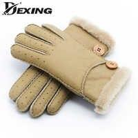 Véritable peau de mouton hiver épais gants femmes fourrure mitaine gants dames chaud en plein air en cuir véritable gants filles coupe-vent gants