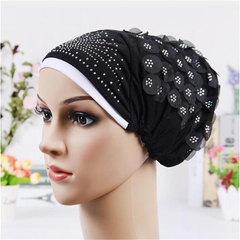 Двухцветная мусульманская хиджаб, хлопковая шляпа с цветами и тюрбаном для женщин со стразами, мусульманский головной убор, внутренние шап...