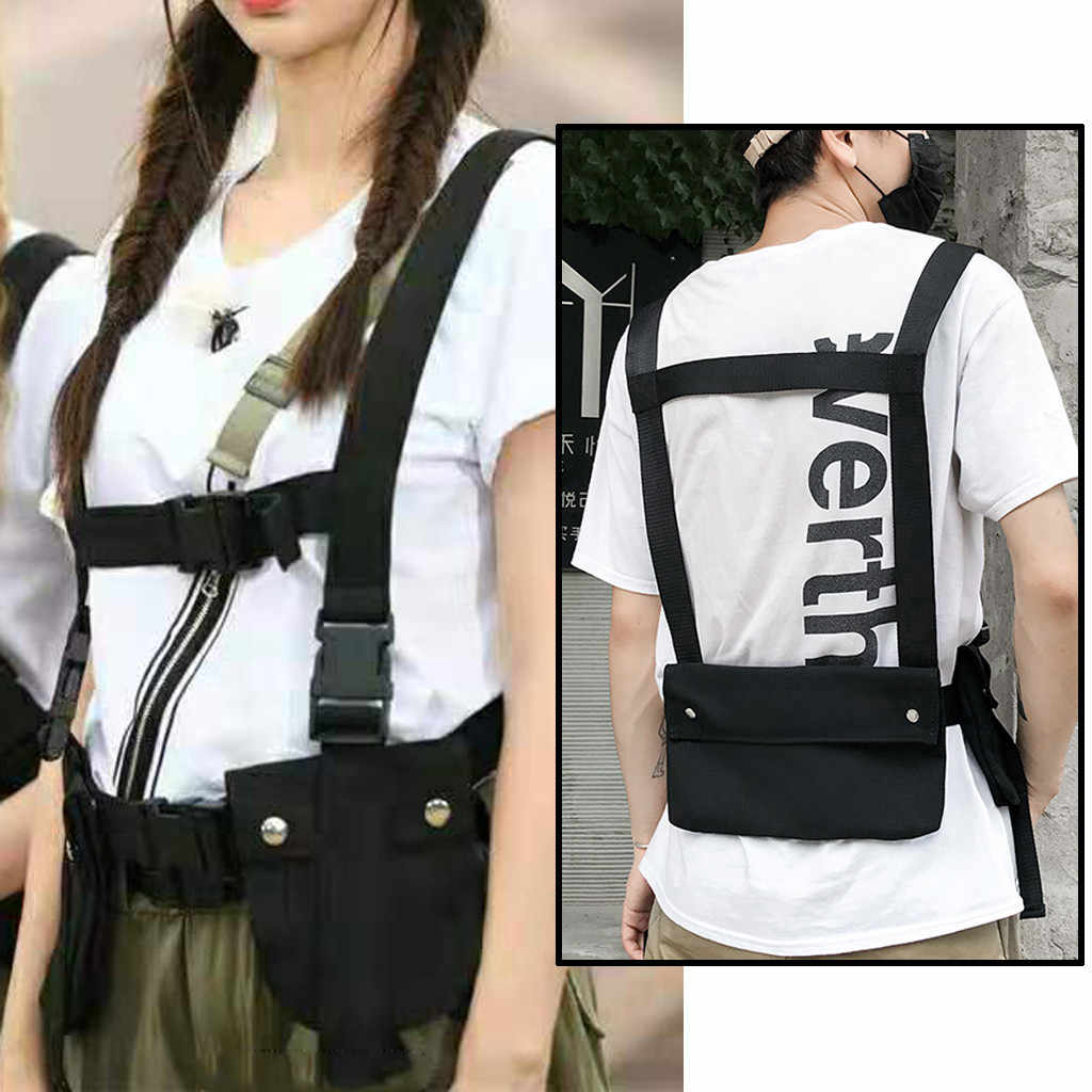 Homem equipamento de peito hip hop streetwear unissex legal funcional tático saco de peito cruz cintura saco de náilon punck estilo mochila de viagem novo