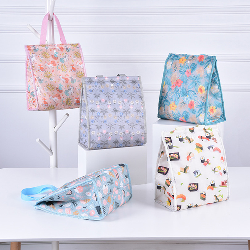 Functional Pattern Cooler Lunch Box Portable Insulated Canvas Cooler Thermal Food Fold Picnic Lunch Bag For Women Kids