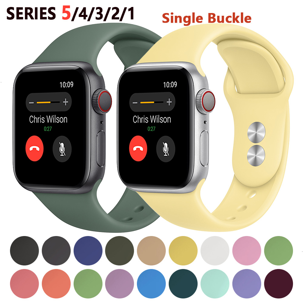Silicone Strap For Apple Watch Band 44mm 42mm Iwatch Series 5 4 3 2 1 Bracelet 40mm 38mm Pulseira Smart Watch Accessories Loop