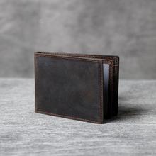 Мужская короткая сумка из натуральной кожи простая Ретро воловьей