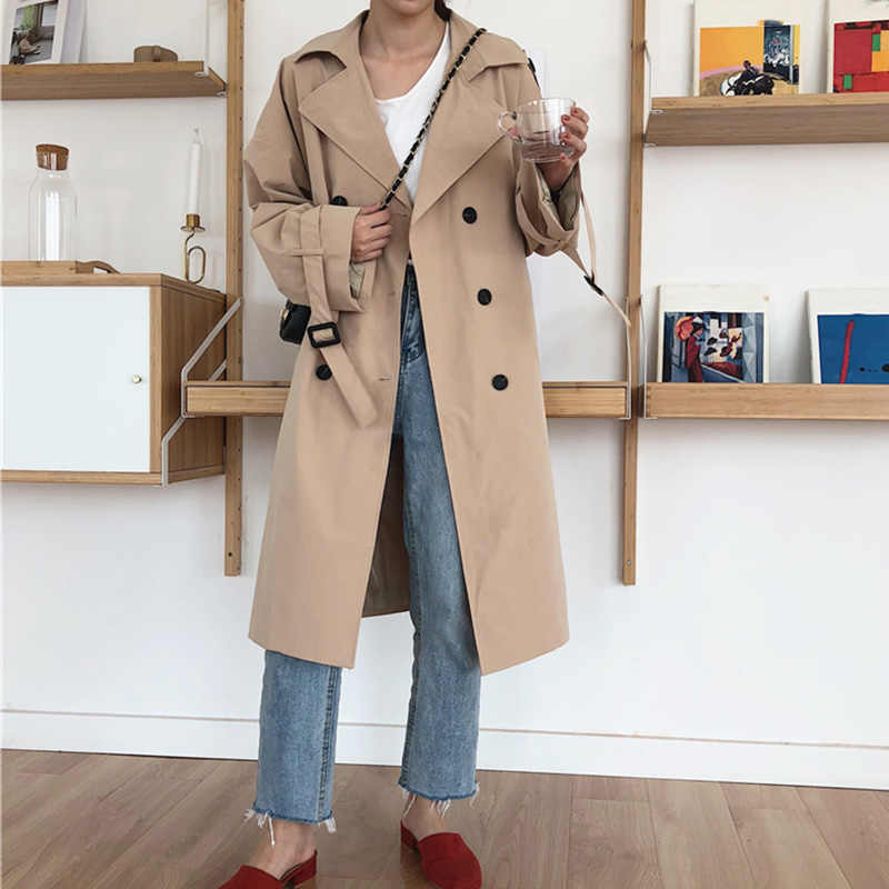 الخريف الشتاء المرأة معطف الكاكي حزام طويل خندق بدوره إلى أسفل طوق مزدوجة الصدر الإناث مكتب سيدة عادية أبلى