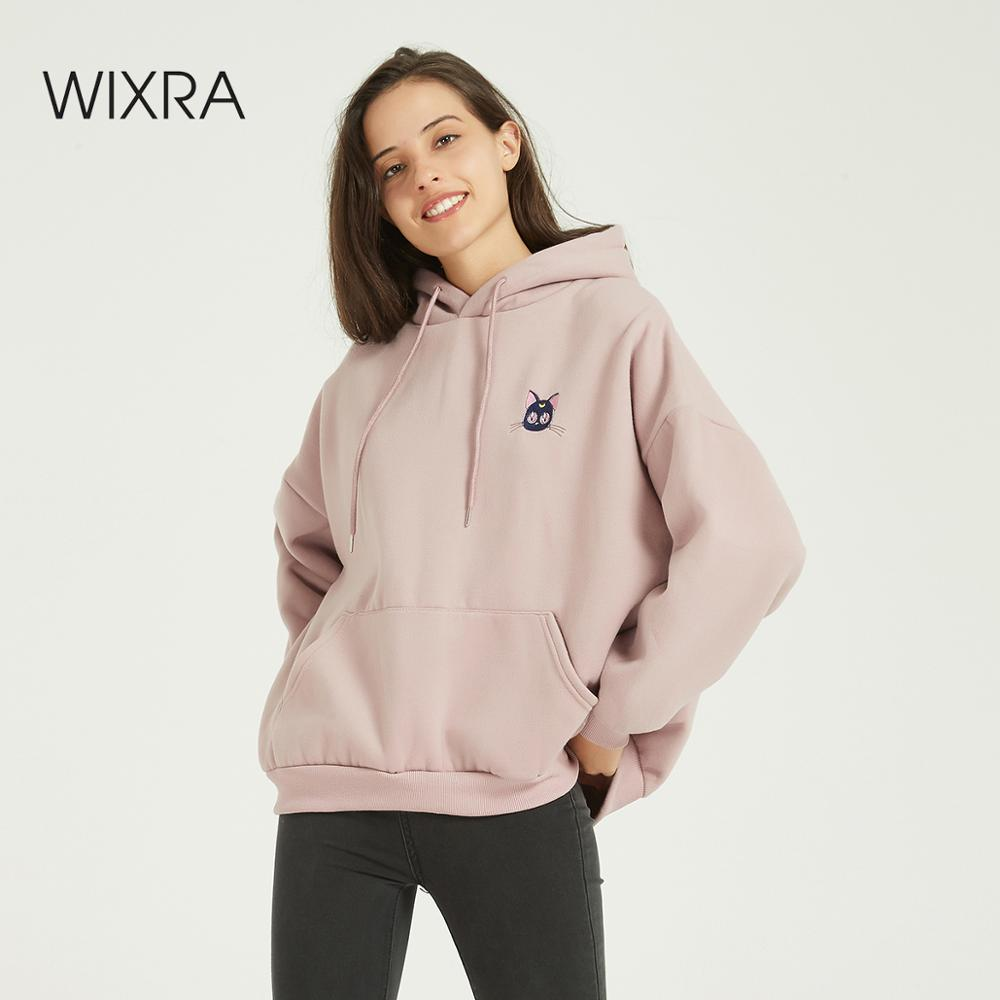 Wixra Women Casual Cartoon Print Sweatshirts Warm Velvet Long Sleeve Oversize Hoodies Tops 2020 Winter Spring Pullover Tops